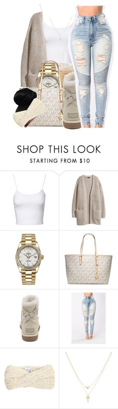 Rain☔️|SWV by maiyaxbabyyy ❤ liked on Polyvore featuring Jane Norman, HM, Rolex, MICHAEL Michael Kors, UGG Australia, Eugenia Kim and Betsey Johnson