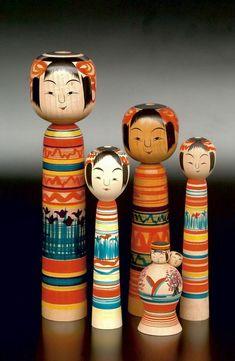 Traditional kokeshi dolls.  Japan.