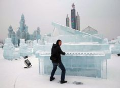 Chinese Ice Festival The city of Harbin, located in northern China, is the home of the world's largest ice and snow festival in the world. The festival begins on January 5th and lasts for a month, though if weather permits, the sculptures stay up longer. The festival started in 1963.
