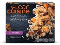 This flavorful meal has of protein and features tender white meat chicken in a maple bourbon sauce with a side of pecan, sweet potato and cranberry rice. High Protein Recipes, Protein Foods, Cranberry Rice, Bourbon Sauce, Lean Cuisine, Bourbon Chicken, Meat Chickens, Frozen Meals, White Meat