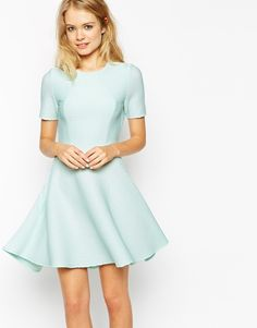$24, Asos Collection Skater Dress In Texture With Cut Out Back. Sold by Asos. Click for more info: https://lookastic.com/women/shop_items/225370/redirect
