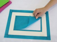 """Step These measurements will be according to the widths of your cardboard frame. You will need to overlap the outside and the inside, cutting away the excess """"Smart-Fab"""". Cardboard Frames, General Crafts, Plastic Cutting Board"""