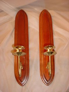 2 Vintage Candle Wall Sconces Wood Brass tone Arms 17 inch by Home Interiors Seller florasgarden on ebay