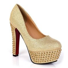 $27.47 Party Sparkling Glitter Chunky Heel and Rhinestone Design Women's Spring Pumps