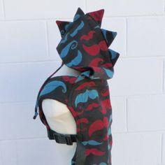Kokadi Mustaches wrap conversion with spikes hoodie hood #babywearing #wrapconversion