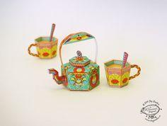 Printed DIY Paper Toy /Favor Box Masala Chai Kettle por SkyGoodies