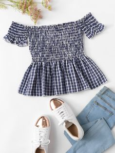 Shop Off Shoulder Ruffle Hem Checked Blouse at ROMWE, discover more fashion styles online. Girls Fashion Clothes, Teen Fashion Outfits, Mode Outfits, Cute Fashion, Girl Fashion, Girl Outfits, Cute Comfy Outfits, Cute Outfits For Kids, Cute Summer Outfits