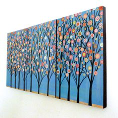 Triptych Abstract Trees Large Art Block Painting £45.00