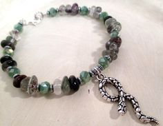 Python Bracelet - Snake Magick - Lodolite & Czech Glass Crystal - pagan - wicca - witchcraft - shamanism by FiberWytch on Etsy
