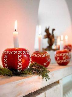 decorazioni natalizie in stile nordico mele porta candela