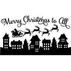 Silhouette Design Store - View Design #161554: santa merry christmas to all scene
