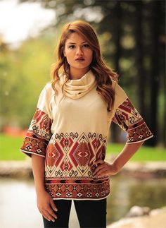 Bayan Bluz Etnik Desen Salaş Yaka Krem | Modelleri ve Uygun Fiyat Avantajıyla | Modabenle