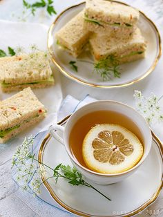 Tuna & Cucumber Sandwiches and Tea with Lemon