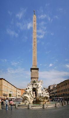 Fontaine des 4 fleuves ou des 4 continents, place Navona à Rome, Rome,1648-51, Le Bernin.