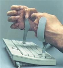 This device was developed by an OT who works with veterans with SCI.  It assists SCI clients in typing.        Fits securely and offers an Unobstructed view of the Key Board  Worn on the Ulner side of the hand.      Padding Protects the dorsal hand surface.  Repinned by  SOS Inc. Resources  http://pinterest.com/sostherapy.