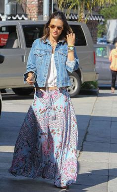 Bohemian queen Alessandra Ambrosio wore a printed skirt while running errands, but we can just as ea... - Getty