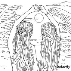 Image may contain: drawing Beach Coloring Pages, People Coloring Pages, Fairy Coloring Pages, Printable Adult Coloring Pages, Coloring Pages For Girls, Coloring Pages To Print, Coloring Sheets, Coloring Books, Tumblr Coloring Pages