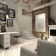za dużo drobiazgów ale ciekawy akcent z klinkierem + platak z oświetleniem Home Living Room, Living Room Designs, Living Room Decor, Style At Home, Interior Decorating, Interior Design, Cozy House, Home Fashion, Home Decor Inspiration