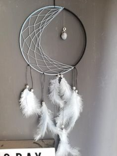 Dreamcatcher crescent moon, baby blue with feathers Dreamcatchers, Baby Blue, Feathers, Etsy Seller, Moon, Create, Unique, Handmade, Painting