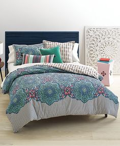 Whim by Martha Stewart Collection Bohemian Rhapsody Reversible Blue