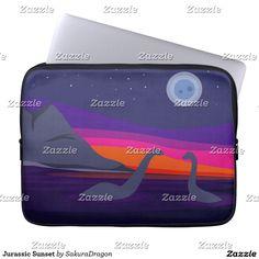 Jurassic Sunset Laptop Computer Sleeve #dinosaurs #jurassic #apatosaurus #brontosaurus #sunset