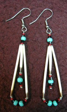 Porcupine Quill and Bead Earrings