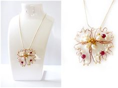 """Necklace """"The flower of love"""" red ruby, white pearls, silver plated beads silver"""