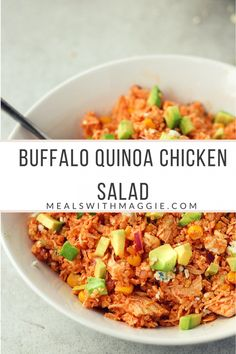 This buffalo quinoa chicken salad is gluten free, ready in minutes and makes about 5-6 servings ! Great meal to prep on a Sunday for those busy weeknights |Mealswithmaggie.com