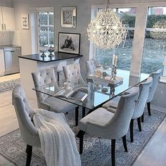 53 Elegant Dining Room Design For Dream Home - Pin Store Dining Room Table Decor, Elegant Dining Room, Luxury Dining Room, Dining Room Design, Living Room Decor, Dinning Room Ideas, Glass Dinning Table, Table And Chairs, Grey Dining Room Furniture