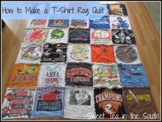 For all my Crazylegs shirts... Who wants to loan my a sewing machine!?! :) op: How to Make a T-shirt Rag Quilt (the non-quilter's quilt) - Sweet Tea in the South