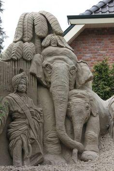 Zandsculpturen te garderen