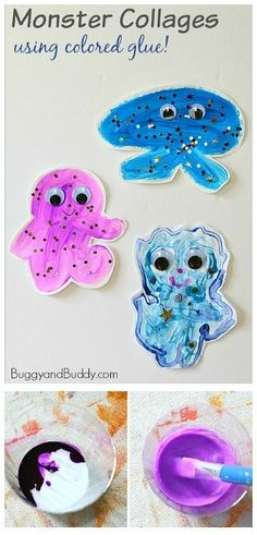 Process Art for Kids: Friendly Monster Collages Using Colored Glue