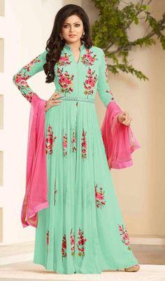 Drashti Dhami Turquoise Color Georgette Long Suit