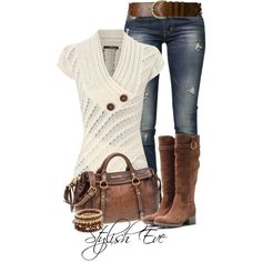 A fashion look from January 2014 featuring Jane Norman sweaters, GUESS jeans and Salvatore Ferragamo boots. Browse and shop related looks.