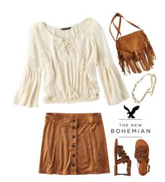 """""""The New Bohemian with American Eagle Outfitters: Contest Entry"""" by mplusk ❤ liked on Polyvore featuring American Eagle Outfitters, boho, Bohemian, peasant and aeostyle"""