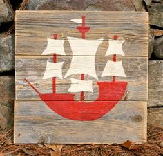 Red Rustic Wooden Pirate Ship Art by HBBeanstalk on Etsy, $50.00
