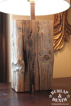 Salvaged Wood Lamp DIY......... i like this idea but it would be so cool to take an old 4x4 post and make a floor lamp.
