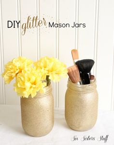 DIY Glitter Mason Jars from Six Sisters' Stuff are perfect for holding your makeup brushes!