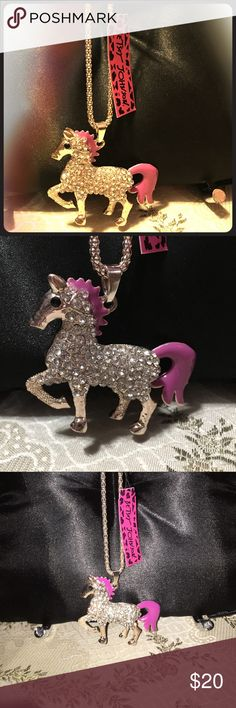 "Betsey Johnson Pink Pony Rhinestone Necklace ~NWT~ This is a brand new item for sale. BETSEY JOHNSON PINK PONY LOVE ACCENTED WITH RHINESTONES AND PINK ENAMEL. Gold tone color. The tail swings back and forth. Very heavy pendants. 28"" inches long not adjustable. Almost 3"" in Length & 2"" in height. Just an adorable piece! Thank you for looking and don't forget to bundle Betsey Johnson Jewelry Necklaces"