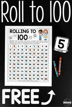 Roll to 100 - fun, free printable worksheets to help kids practice count to 100 with a fun count to 100 activities. This is a fun kindergarten math activities, kindergarten worksheets, math centers, or extra math practice for homeschoolers. Kindergarten Math Activities, Fun Math Games, Preschool, Printable Worksheets, Free Printable, Printable Math Games, Counting To 100, Math Practices, Free Math