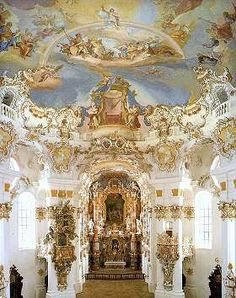 Wieskirche, Germany. I could spend all day in this church. It's in the middle of nowhere and an amzing example of roccoco architecture.