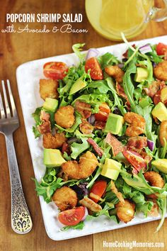 Popcorn Shrimp Salad with Avocado and Bacon -- an easy & delicious dinner for a #MomVictory during chaotic weekdays