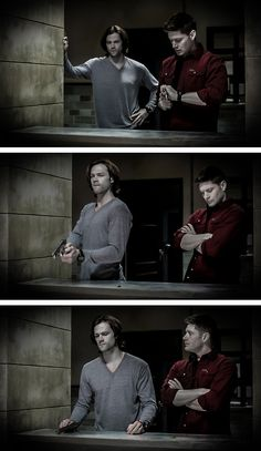8x20 Pac Man Fever #SPN #Dean #Sam the moose look so sad he missed the target