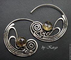 Серьги Kargo - серебряный,серьги-кольца,серебро,раухтопаз,крупные серьги