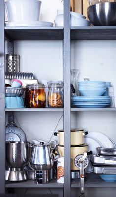 Open storage with IVAR shelf unit that has been painted grey - this in the kitchen?