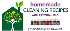 Homemade DIY Cleaning Recipes with Essential Oils BIG LIST! FiveSpotGreenLiving.com
