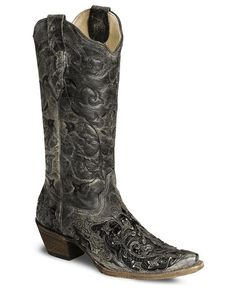 Corral Black Caiman Inlay Cowgirl Boot - Snip Toe - Sheplers