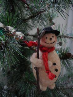 Cotton Batting Snowman Christmas Ornament Named by joleecaldwell