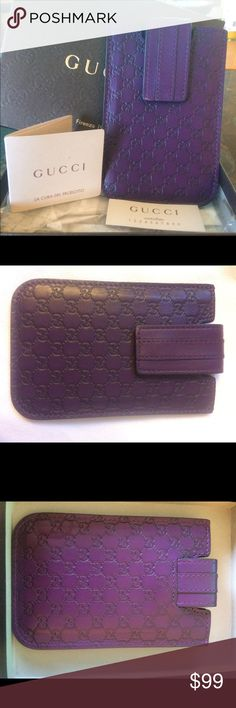 Gucci Microguccisima case/card holder Authentic Gucci case! Purple leather with suede lining, Micro Guccisima. With all original packaging and authenticity tags. This fits iPhone 4/4S... I only used it once! Used it to carry cash and I.D into the nightclub, perfect handheld accessory!!! Gucci Accessories