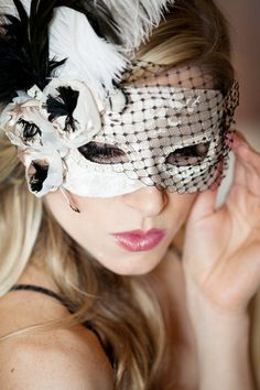 Lace Anenome Masquerade Mask with feathers and veil. ~ Super cute to do a masquerade theme night out for a bachelorette party ; Masquerade Wedding, Masquerade Theme, Masquerade Ball, Mascarade Mask, Halloween Masquerade, Masquerade Costumes, Beautiful Mask, Beautiful Boys, Venetian Masks
